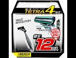 Лезвия сменные для мужской безопасной бритвы K 4 Tetra — 4 лезвия, с плавающей головкой антибактериальной полоской / KAI / 12 шт.