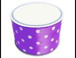 Лента атласная в горох, 5 см шир, цвет фиолетовый на метраж