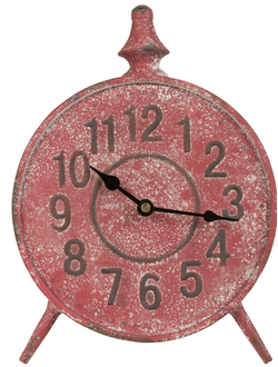 ЧАСЫ НАСТОЛЬНЫЕ 200530 CLOCK CADRAN RED 20.5X5XH28.5CM IRON