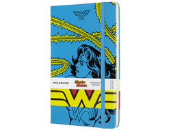 Блокнот Moleskine Wonder Woman (в линейку), Large голубой
