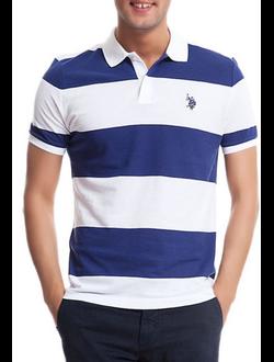 Поло U.S. Polo Assn с логотипом, в широкую горизонтальную белую и синюю полоски