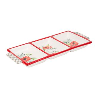 Менажница с маками 200470 RECTANGULAR DISH BLANDINE RED+GREY 38X16 DOLOMITE