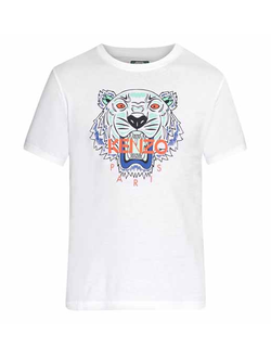 Футболка KENZO хлопковая с принтом «ТИГР», цвет белый