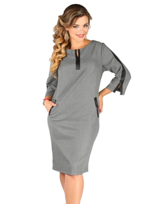Платье миди с кожаной отделкой Новита-485-серый (50-58)