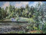 "Круглова Светлана. ""Московский парк"",  холст / масло,  50 х 70 см.,  2016 г."