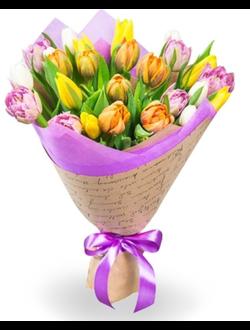 25 тюльпанов в натуральном крафте