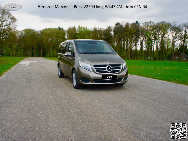 New armored Mercedes-Benz V250d/300d and  EQV300 long/extra long W447 4Matic in CEN B4, 2020-2021YP