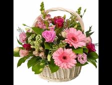 Корзина с розами и Герберами Розовая Соната