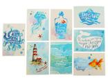 """Набор из 8 небольших открыток """"Морской"""""""