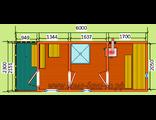 """Схема готовой  бани - размером 6 х 2,3 метра с крыльцом. Печь """"Валдай"""" труба выходит в стену"""