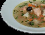 Уха: рыбный суп с судаком, семгой и треской, 280 гр, 263 Ккал