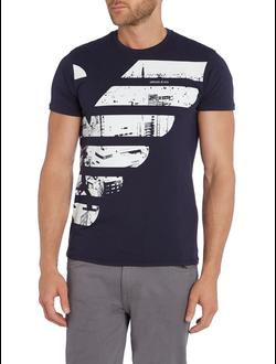 Футболка Armani Jeans из хлопкового джерси с рисунком, цвет темно-синий