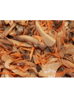 Шампиньоны резанные с морковью по-корейски