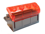 Container, Treasure Chest, Complete Assembly - Thick Hinge, Slots in Back with Trans-Neon Orange Lid, Flat Silver (4738ac02)