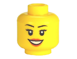 Minifigure, Head Female with Peach Lips, Open Mouth Smile, Black Eyebrows Pattern - Hollow Stud, Yellow (3626cpb0633 / 4651443 / 6018189)