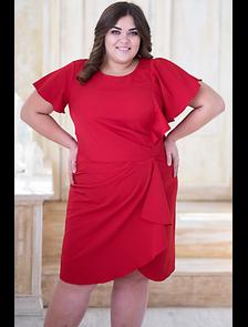 Нарядное платье красного цвета 525-1-SN. Размерный ряд: 54-60