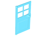 Door 1 x 4 x 6 with 4 Panes and Stud Handle, Medium Azure (60623 / 6212462)