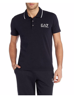 Поло EA7 Emporio Armani однотонная с логотипом, цвет черный