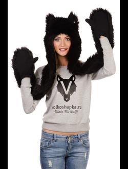 Черный волк с варежками