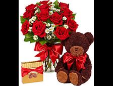 Презент Люкс букет роз,плюшевый мишка и шоколадные конфеты
