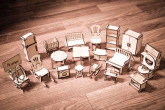 Набор мебели к кукольному домику из 24 предметов!