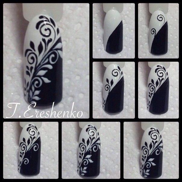 Вензеля роспись ногтей для начинающих пошагово с