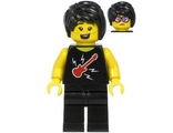 Plane Passenger - Female, Black Hair, Black Sleeveless Top with Red Guitar, Black Legs, n/a (cty1188)