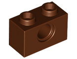 Technic, Brick 1 x 2 with Hole, Reddish Brown (3700 / 4211252)