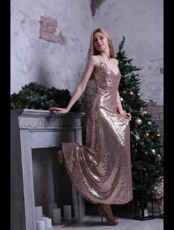414838f33f1 Золотое вечернее платье с пайетками и открытой спиной