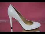 Свадебные туфли кожаные белые высокий каблук шпилька круглый мыс № 085-А301=301