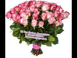 51 розовая роза букетом
