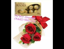 Набор Поздравления (3 розы и конфеты)