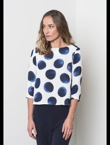 Блуза в большой синий горох FA3209_795