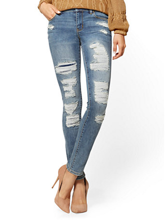 SOHO JEANS - DESTROYED SKINNY - DUSTY BLUE WASH