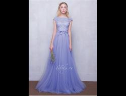 b3c4722b833 Вечернее выпускное лавандовое платье с пышной фатиновой юбкой и кружевным  топом