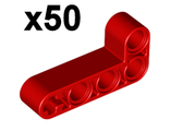 Technic, Liftarm 2 x 4 L-Shape Thick,x50, Red (32140 / 4141270)
