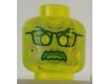 Minifigure, Head Alien Ghost with Yellowish Green Face, Glasses, Angry and Flames in Back Pattern - Hollow Stud, Trans-Neon Green (3626cpb2494 / 6279129)