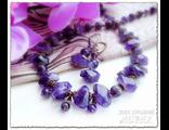Купить украшения. Авторский комплект украшений из аметиста. Колье и серьги из натуральных камней.