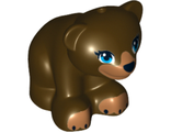Bear Cub with Dark Azure Eyes, Black Nose and Dark Tan Paws Pattern, Dark Brown (14732pb01 / 6139581)