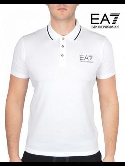 Поло EA7 Emporio Armani однотонная с логотипом, цвет белый