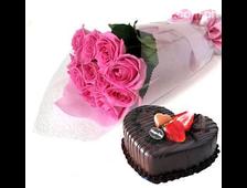 Шоколадный торт с шикарными розовыми розами (11 роз)