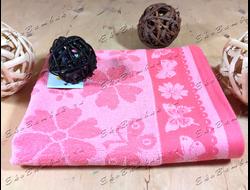 Бамбуковое полотенце спорт класс 48х98 Бамбук-хлопок Цветочки коралл