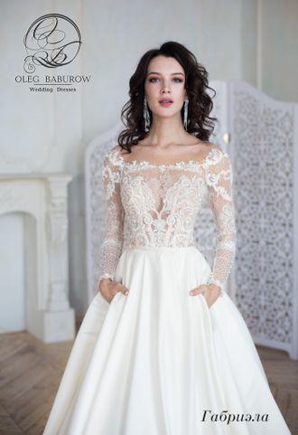 10595102dca Свадебное платье с рукавами и атласной юбкой