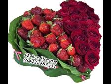 Клубника и розы(21 шт) в форме сердца