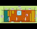 """Схема готовой  бани - размер 6 х 2,3 м. с крыльцом Печь """"Валдай"""" дымовая труба в стену, бак с нагрев"""