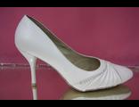 Свадебные туфли белые средний устойчивый каблук мыс украшены стразами серебренными купить недорого