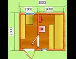 """Схема готовой брусовой бани - размером 3 х 2.3 м. Печь """"Ермак"""" дымовая труба выходит через крышу"""