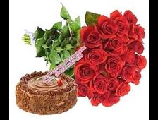 Классика роз 25 красных роз и торт