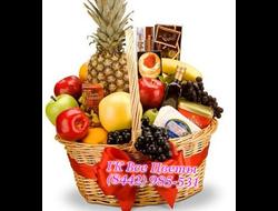 Подарочная корзина Щедрое Ассорти с фруктами, сыром, чаем, шоколадом