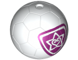 Sports Soccer Ball with Magenta Outlined Heart and Star Pattern, White (x45pb06 / 6023212)
